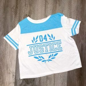 Justice Blue & White Varsity Crop Top 10 Yr.